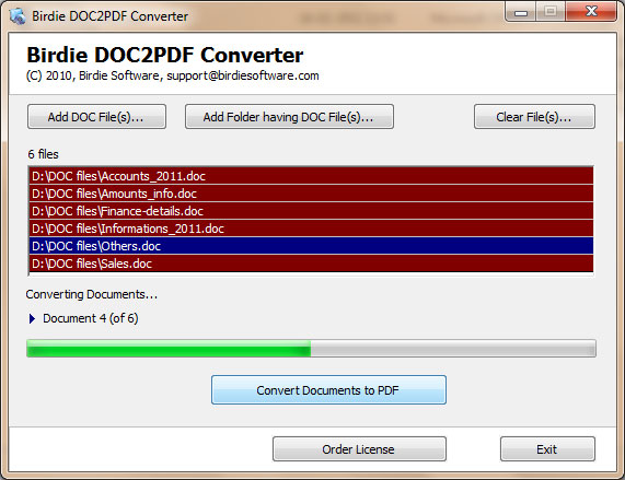 DOC to PDF Conversion utility