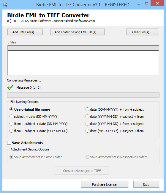 Launch EML to TIFF Converter