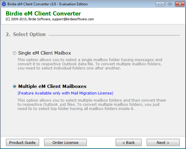 Click to view Convert eM Client to Outlook 2.0.5 screenshot