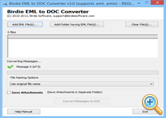 Lauch Software to convert EML emails