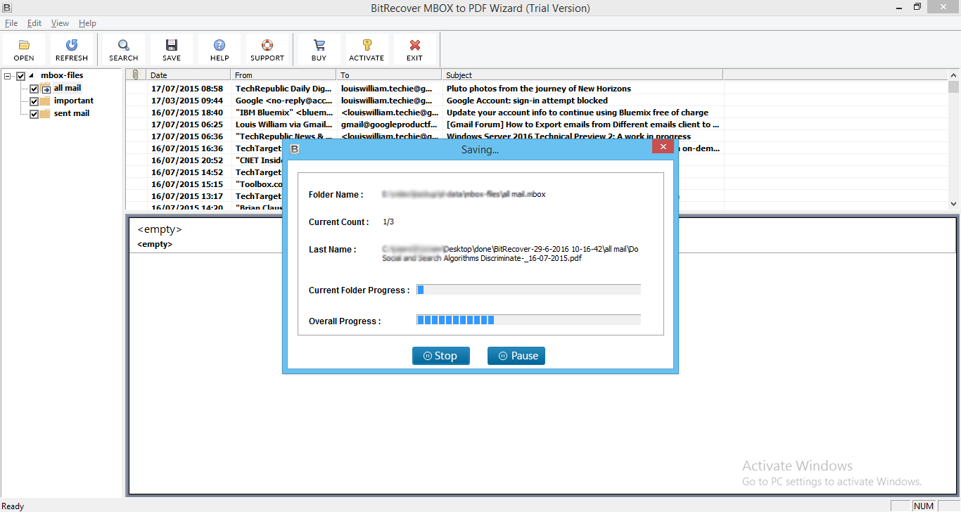 MBOX to PDF to Save Mailbox  mbox Messages to PDF in Batch