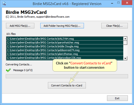 MSG to vCard Converter to Convert MSG Contacts to VCF format