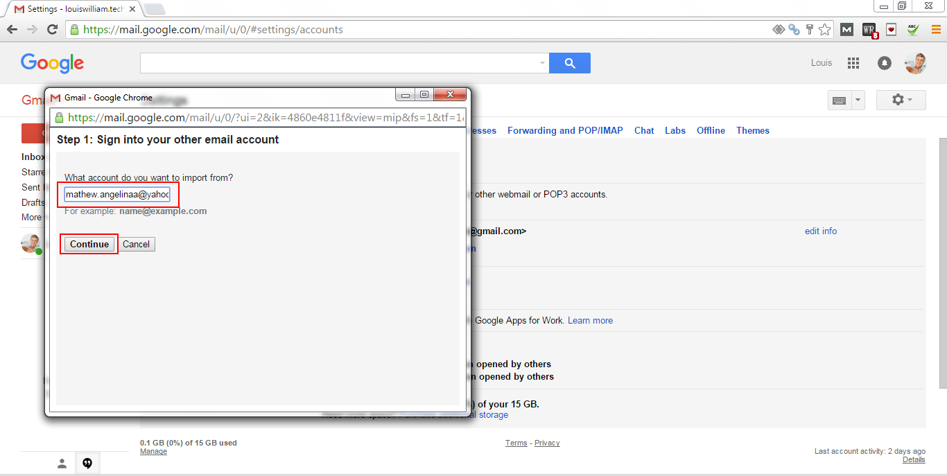 Add yahoo Account to Gmail