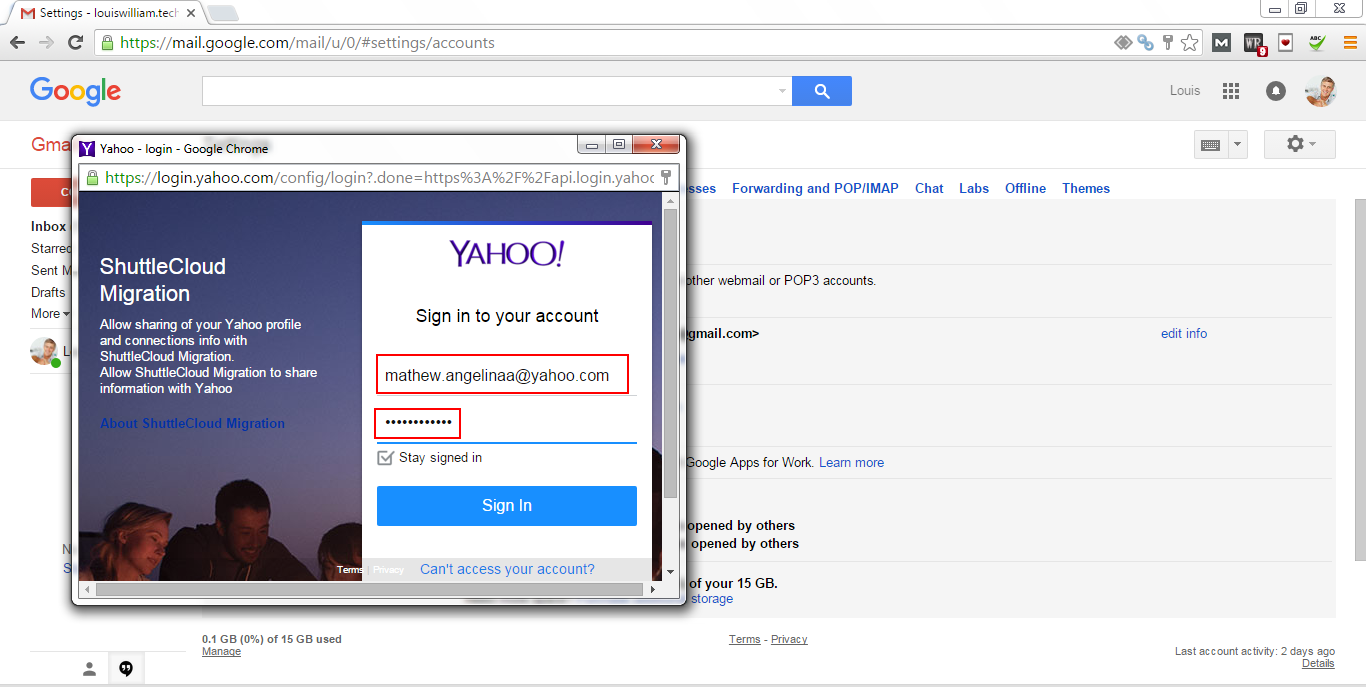 Sign to yahoo Account