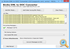 Start Conversion of EML to DOC