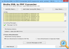 Start process of EML/EMLX files to PDF Conversion