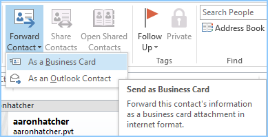 Manual process to export microsoft outlook contacts to vcard step 3 click on forward contact as a business card reheart Choice Image