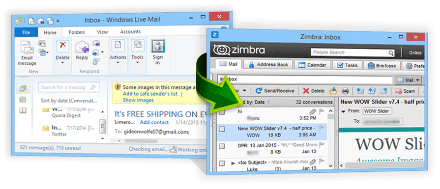 Import messages of Windows Live Mail to Zimbra Web Client